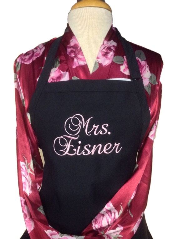 "The ""Mrs"" Apron w rustic pink thread & 3 Pockets on your color choice (24""L x 28""W) Summer, beach, island, pink, pastel, picnic, family"
