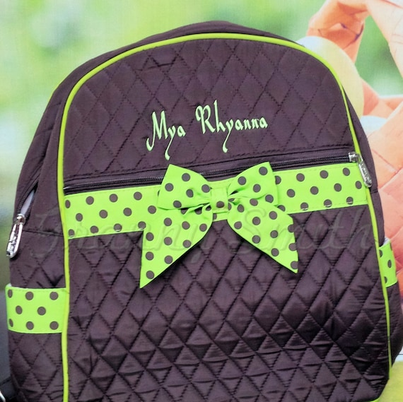 Brown + Lime polka dots Quilted solid backpack. Book bag. Customize. Personalize. Monogram.