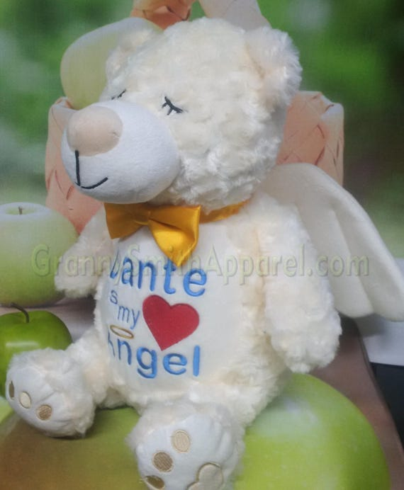 Angel bear plush stuffie stuffed animal with wings. Memorial bear.  Guardian Bear. Comfort for loss. Memory bear.  Sympathy gift. Comfort.