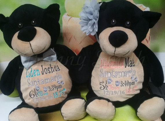 "BLACK  two tone BEAR 16"" birth announcement plush. Graduation, christening, newborn, adoption, personalized gift, customized, child's name"
