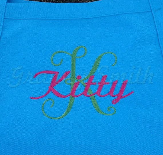 "3 pocket monogram apron w initial & name (24""L x 28""W). Bow or not? Wedding, birthday, picinc gift, bridal party, mom, aunt, teacher, sister"