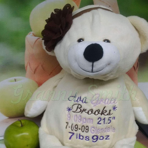 """FRENCH VANILLA 16"""" personalized bear. Monogram, embroidery, customized for any holiday or event. Great keepsake decoration. Birthday etc."""