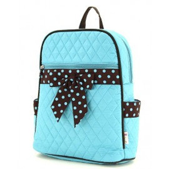 Quilted solid turquoise backpack with brown polka dot accents. Book bag. Black & White polka dots. Customize. Personalize. Monogram.