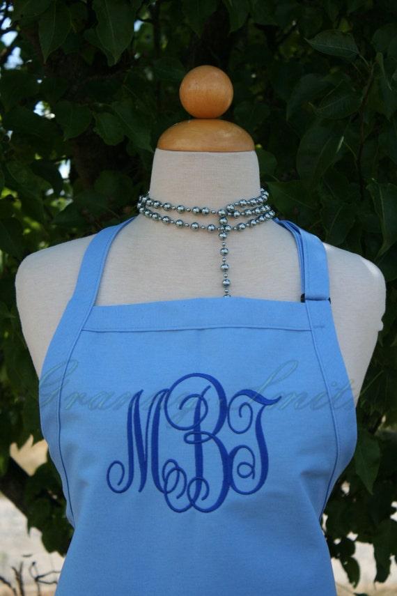 """3 pocket Cotton Candy Blue apron + True Blue """"Monogram"""" font. Bow or not? (24""""L x 28""""W) Teacher, graduation, Chef, Picnic, Kitchen remodel"""
