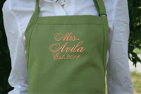 "3 pocket Herbal Sage Green apron w Bright Peach thread (24""L x 28""W) ""SBE"" font monogram. Personalize with or without a bow! Wedding gift."