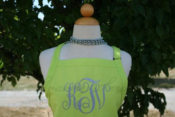 "3 pocket Limeade Bright Green & Gun Metal thread ""SBE"" font monogram apron (24""L x 28""W) Teacher, graduation, Chef, Picnic, Kitchen remodel"