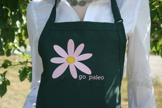 Go Paleo Flower 3 Pocket Apron with Custom Color Combinations for Flower/Apron made in USA!