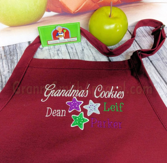 "Grandparent gift. 3 pocket CUSTOMIZED bib apron (24""L x 28""W). Will design your request. Great Thanksgiving or Christmas gift. Bow or not"