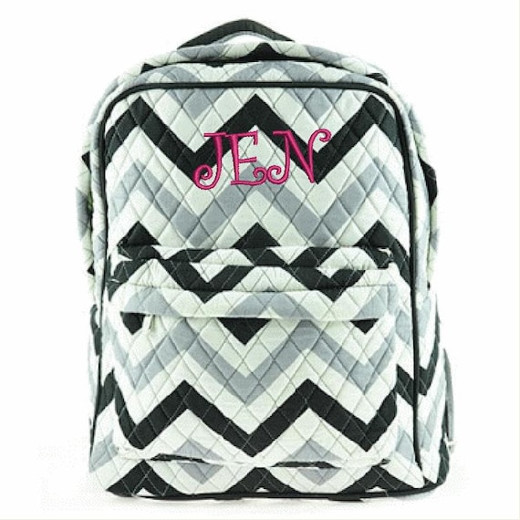 Quilted Chevron 2 piece matching backpack + lunch bag. Gray and Black w front pocket. Customize. Personalize. Monogram.