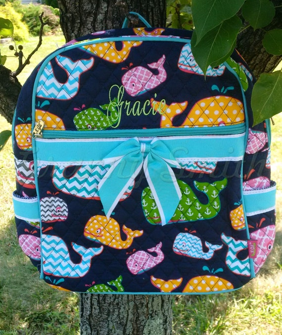 Quilted 2 piece matching colorful chevron whales w aqua blue trim backpack + yellow lunch bag set. Customize. Personalize. Monogram.