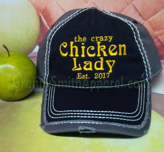 Crazy Chicken Lady Hat. Baseball Cap. Trucker Hat. Chicken Chick. Farm Girl Gift. Chicken Mom. Hen house. Chicken Coop Cleaning. Rooster.