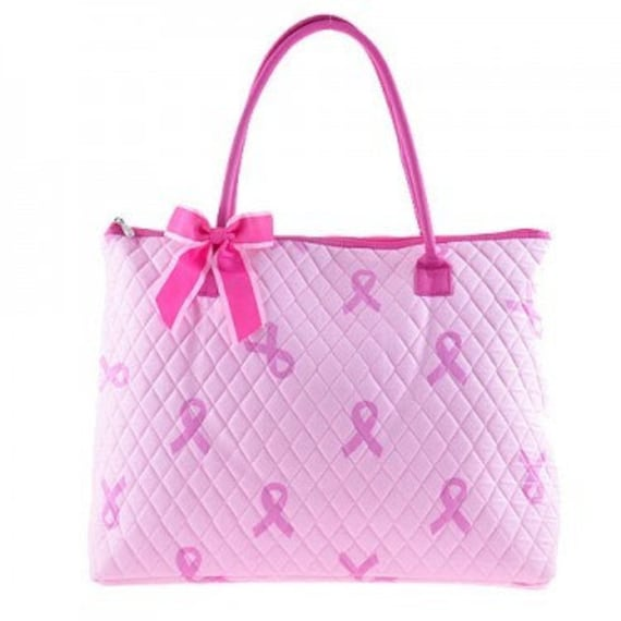 Quilted breast cancer awareness 3 piece matching large tote, duffle & messenger bag set. Pink Ribbon. Customize. Personalize. Monogram.
