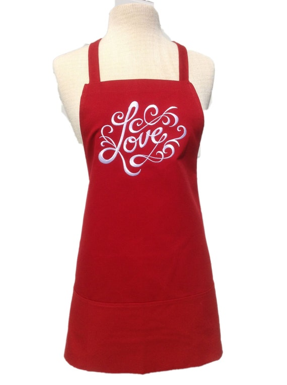 """Love apron! Red Raspberry Jam apron with Super White thread. 3 pockets (24""""L x 28""""W) Wedding, engagement, just because, anniversary, picnic"""