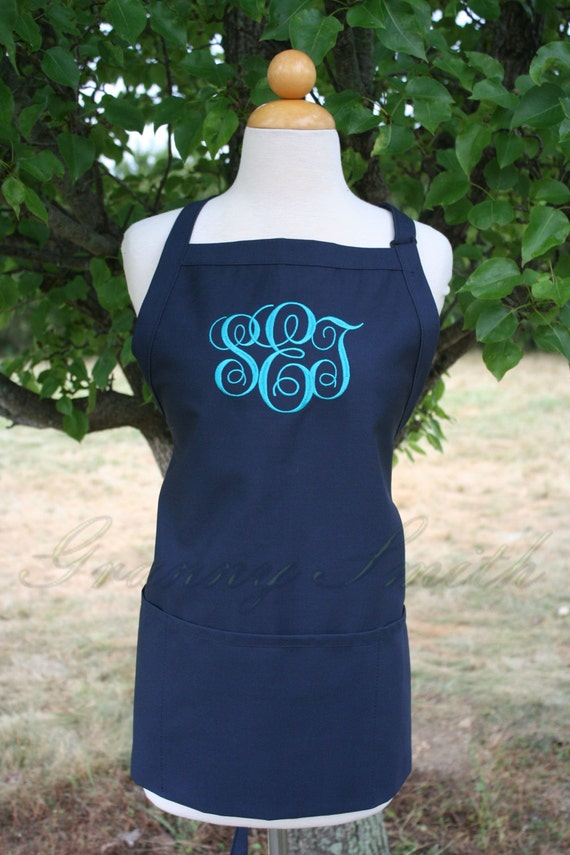 "3 pocket Navy Blue Berries apron + Dark Teal ""SBE"" font monogram apron (24""L x 28""W) Engagement, House Warming, Bridal Shower Birthday, Etc"