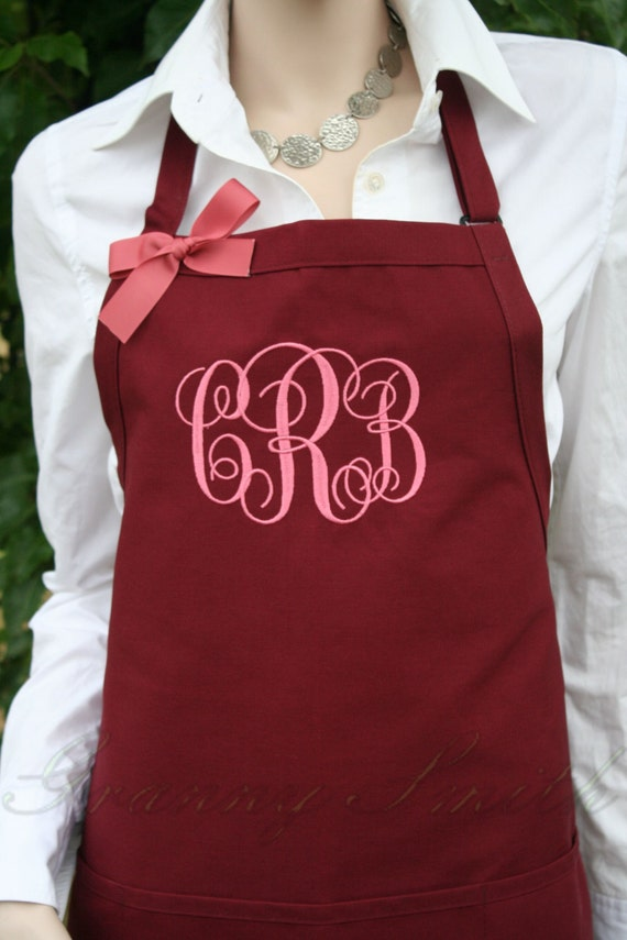 "3 pocket Burgundy Wine + Mauve thread ""SBE"" font monogram bow or not apron (24""L x 28""W) Holiday gift, Wedding, Bride, New last name, Mrs."