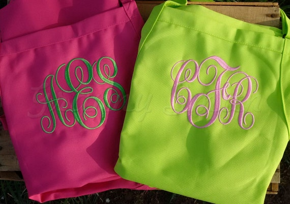 "Set of 2 Embroidered monogram 24""L x 28""W bib apron with 3 pockets. Protect her gown! Initials. Bridesmaid. Flower girl too. Wedding favor."