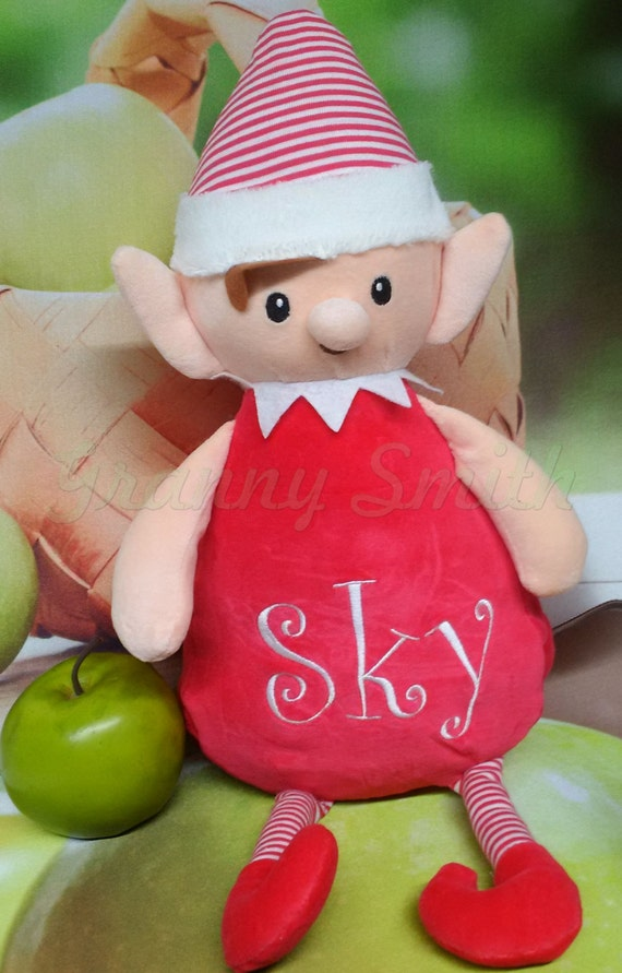 "Custom Christmas Elf stuffie personalize a 12"" embroidered, Christmas. for your shelf or shoulder Christmas / Santa reminder. Name him / her"
