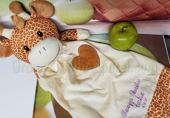 "Giraffe personalized lovie 20"" blanket bear. Monogram or Name. baby shower, christening, adoption, personalized gift, child's name, girl"