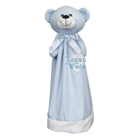 "Blue plush cuddly lovie 20"" blanket bear. Monogram or Name. baby shower, christening, adoption, personalized gift, child's name, girl"