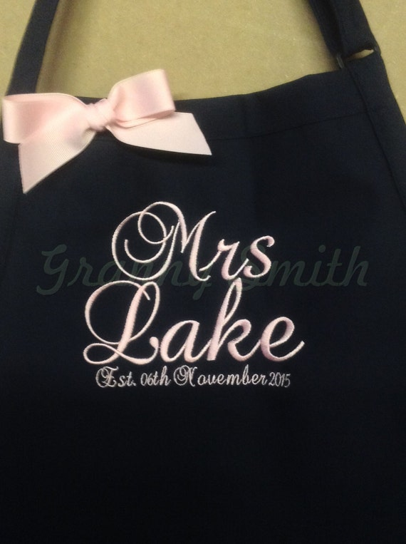 "The ""Mrs"" Apron with ""Estd. date"" & 3 Pockets your color choice bow or no (24""L x 28""W) Fall Winter, beach, island, pastel, robin egg blue"