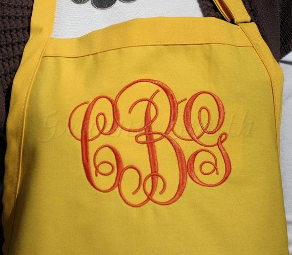"3 pocket Lemon Meringue yellow w Pumpkin thread ""SBE"" font ""first name"" apron (24""L x 28""W) Christmas. Birthday. Bridal gift. Wedding party."