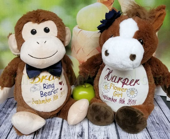 SET Ring Bearer. Flower girl.  Stuffed Plush. Will design a Custom duo or customize this specific design.  Pick from any animals in stock!!!