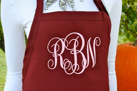 "3 pocket Burgundy Wine apron Rustic Pink thread ""SBE"" font monogrammed (24""L x 28""W) Bow or not? Holiday gift Chef, Picnic, Kitchen remodel"