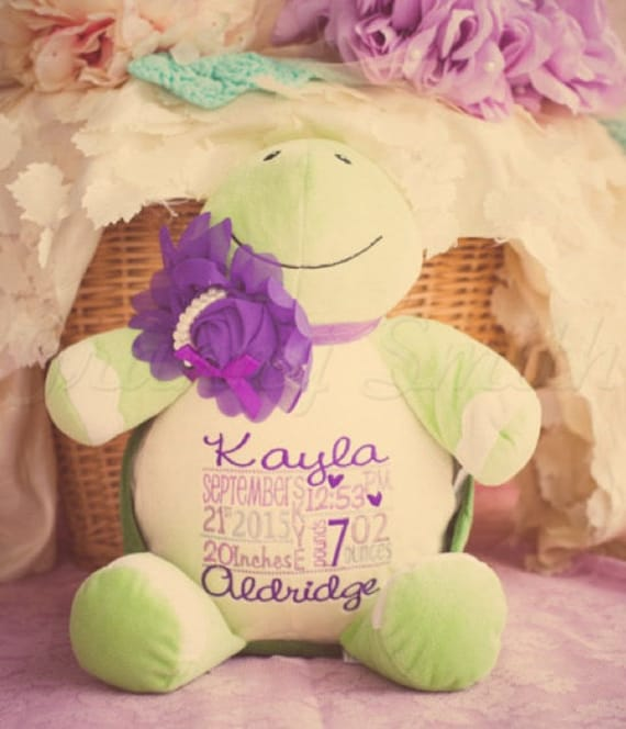 "Green Turtle Custom LAST ONE 12"" stuffie embroidered personalized plush stuffed animal. Baby, newborn, shower, christening, unique gift."