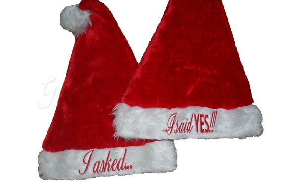 Christmas Engagement Set of 2 Adult plush red Christmas Santa Hat. You decide the Embroidery. Monogram. Customize. Personalize!!