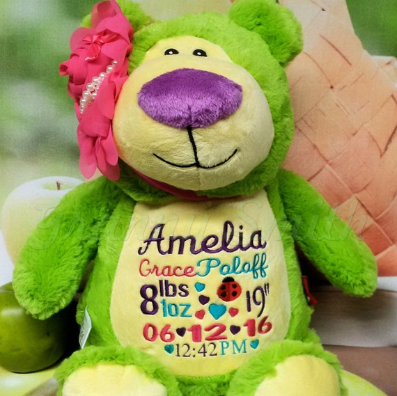 "Lime Green plush bear Customize & personalize 12"" embroidered, Christmas. Baby, wedding, birthday, shower, christening special event holiday"