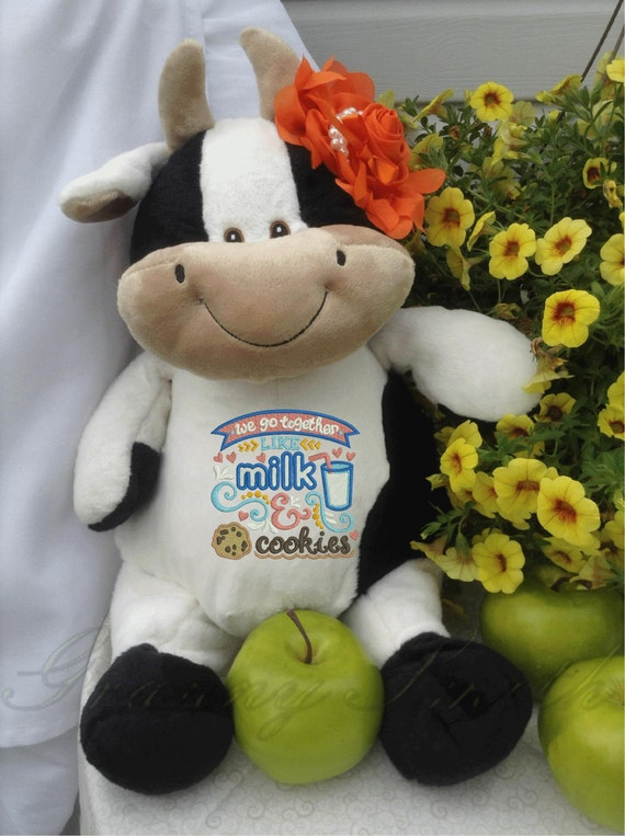 Milk & cookies plush stuffed cow. Valentine's Day.  Love. Many occasions. Personal note on the bottom or not. Accessory bow tie or hair bow.