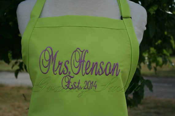 "The ""Mrs"" Apron with ""Estd. date"" & 3 Pockets your color choice bow or not (24""L x 28""W) Summer, beach, island, pink, pastel, picnic, family"