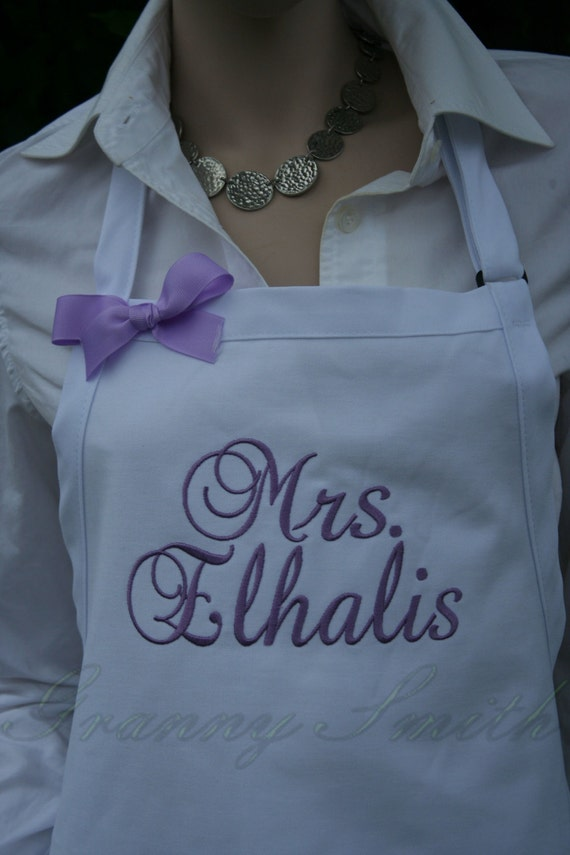 "3 pocket White Sugar Cubes apron with Amethyst thread (24""L x 28""W) ""SBE"" font monogram. Personalize with or without a bow! Wedding gift."