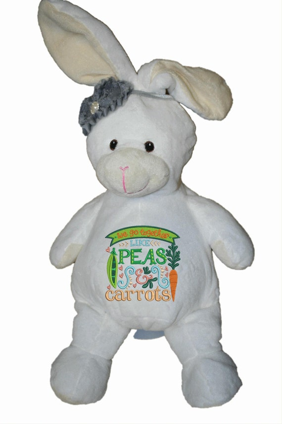 Peas & Carrots plush stuffed rabbit / bunny. Easter Basket Item.  Love.  Personal note on the bottom or not. Accessory bow tie or hair bow.