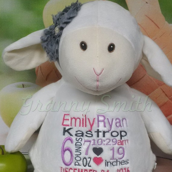 """WHITE LAMB Custom birth announcement 16"""" personalized Easter basket plush. Baby, newborn, shower, christening, special event, holiday,"""