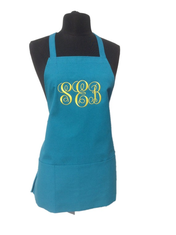 "3 pocket Turquoise Taffy apron with Daffodil Yellow thread (24""L x 28""W) Wedding, Chef, Picnic, House Warming, Bridal Shower, Birthday, Etc"