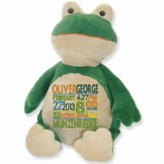 """Frog Custom embroidered 16"""" green toad. Birth announcement, birthday gift, memorial animal, ask a ring bearer, washable stuffed animal"""