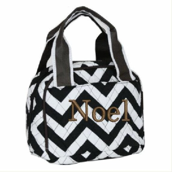 Quilted Black White + Brown Chevron 2 piece matching backpack + lunch bag. Customize. Personalize. Monogram.