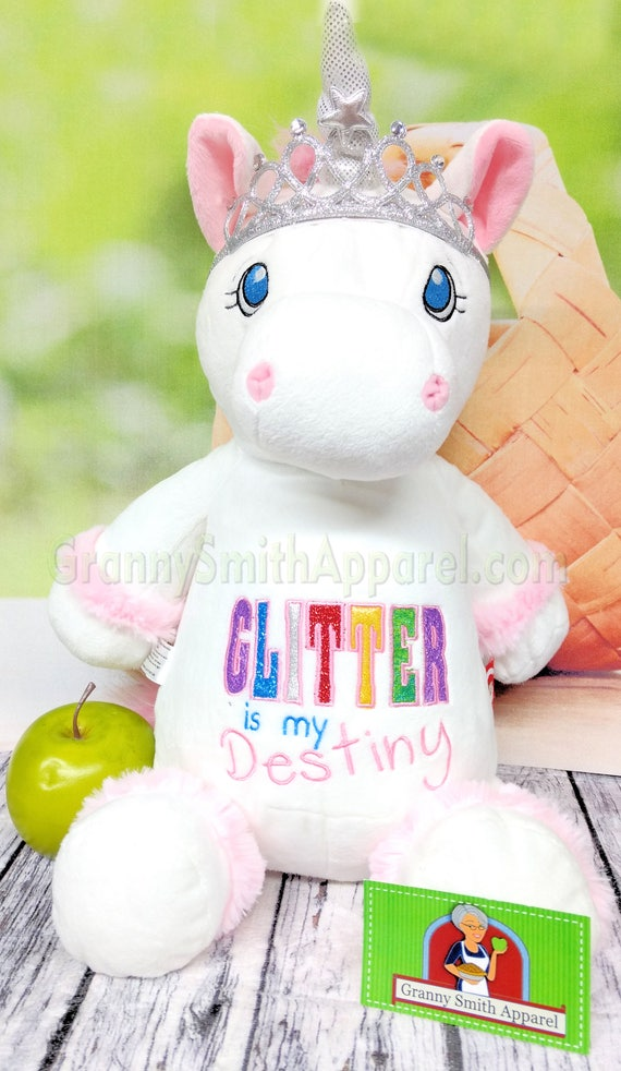 Birth announcement Memorial animal plush stuffie. UNICORN pastel GRAY with Custom embroidered 12 plush stuffie birthday gift