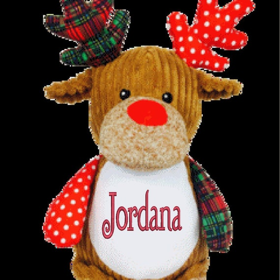 "DEER 12"" plush stuffed red / green w/ custom embroidery! Any occasion, embroidered, monogrammed, personalized gift, customized animal"