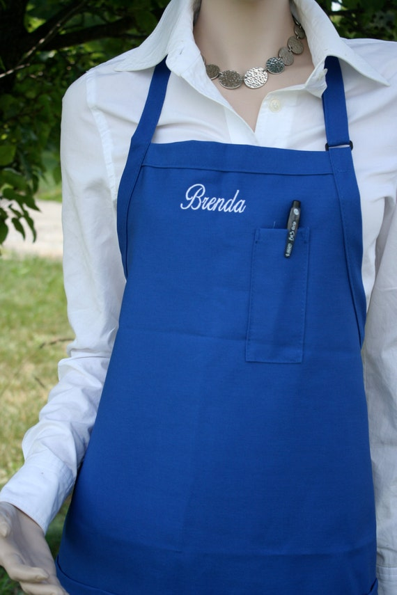 "Pencil pocket plus 3 pockets Extra Long bib apron (34""L x 24""W) Waitress, Warehouse, Inventory Clerk, Restaurant. Personalized. Embroidery."