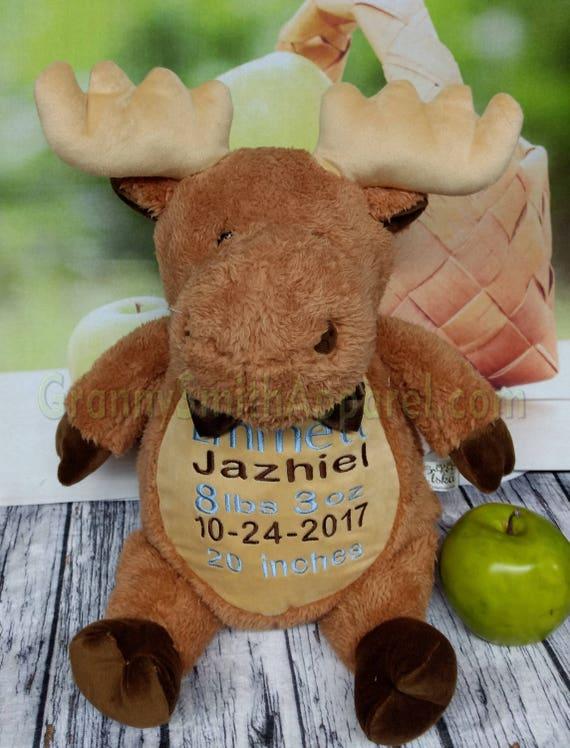 "Moose 16"" custom embroidered plush plushie stuffed stuffie animal. Extra furry!  Personalized tummy. New baby. Gift. Graduation. Birth"