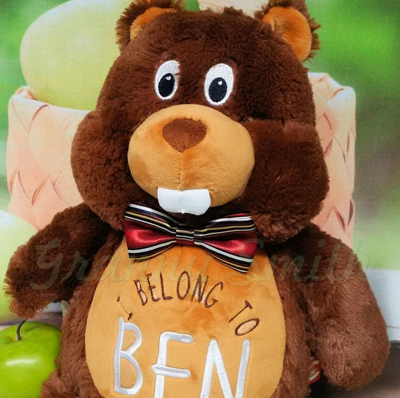"Plush Brown Beaver **LIMITED SUPPLY** 12"" birth announcement plush animal. Graduation, personalized gift, customized, child's name"