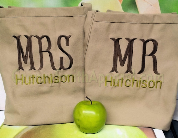 Mr. & Mrs apron set. Custom embroidered and personalized.  Designed the way you want.  Many fonts to pick from and 22 apron colors to pick