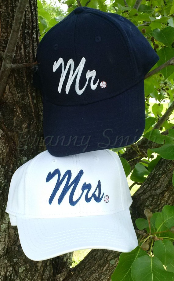 BASEBALL design Set of 2 baseball caps / hats. Mr & Mrs matching embroidered. Pick a color cap, font, color thread + if you want a design