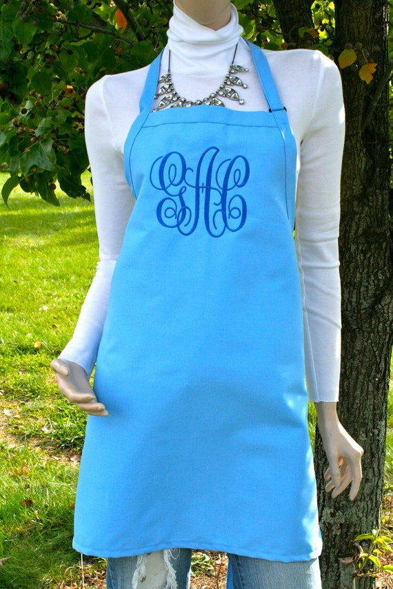 "Cotton Candy Blue apron NO pocket  name or ""Monogram"" font. Bow or not? (28""L x 24""W) Wedding, Robin Egg, Chef, Picnic, Kitchen remodel"