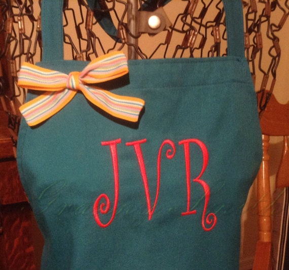 """Turquoise Taffy w Christmas Red """"Spiral Ring"""" font monogram NO pockets apron (28""""L x 24""""W) Birthday, Bridal, Gift, New Home, Teacher, Unique"""