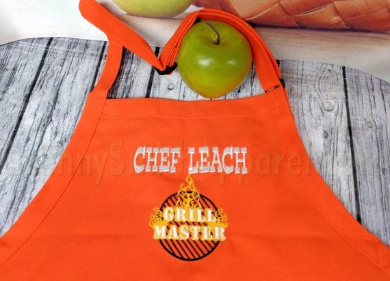 "Men's CHEF BBQ ""Grill Master"" apron XL-long no pockets (34""L x 24""W) Unisex. Picnic. Gift, Chef, Tuedo Saver, Birthday, Anniversary"