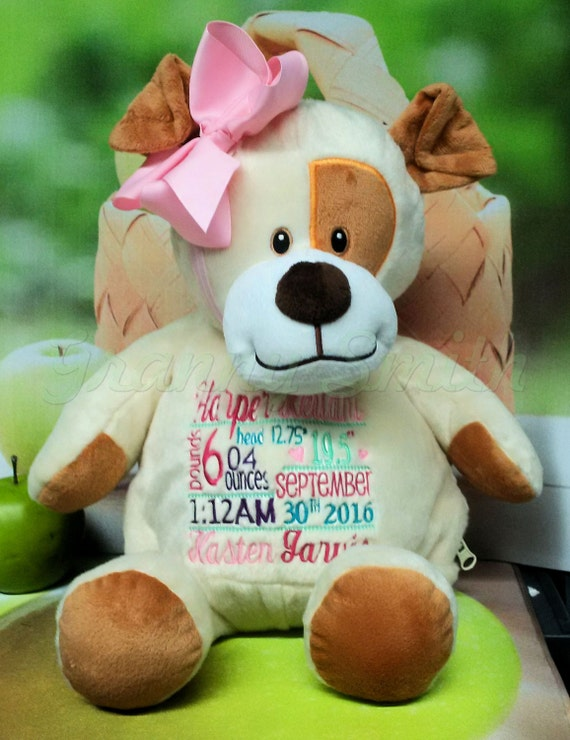 "Customize & personalize a plush 16"" embroidered puppy dog. Graduation. Baby, wedding, birthday, shower, christening, special event, holiday"