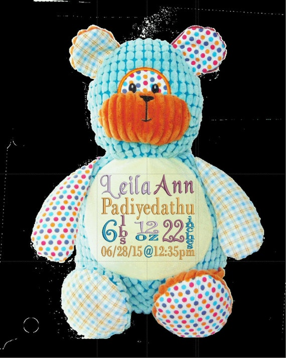 "Harlequin Bear **LIMITED SUPPLY** Custom 12"" personalized plush embroidered. Baby, newborn, shower, christening, special event,"